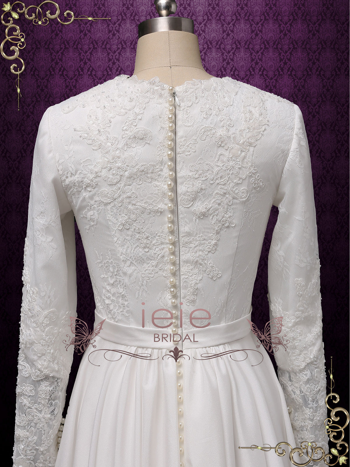 Full Lace Back with Pearl Buttons | CAMBRIDGE