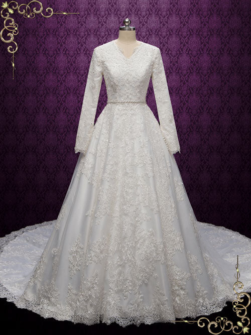 Modest Lace Wedding Dress with Long Sleeves | Hebe