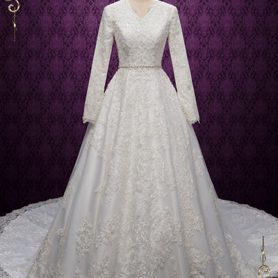 Modest Lace Wedding Dress with Long Sleeves | Heba