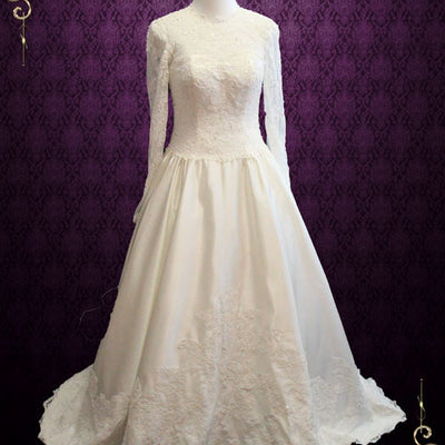 Vintage Style Modest Long Sleeves Lace Wedding Dress | Petra