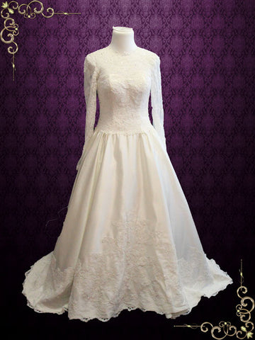 Victorian Style Modest Long Sleeves Lace Wedding Dress with High Lace Illusion Neckline | Petra