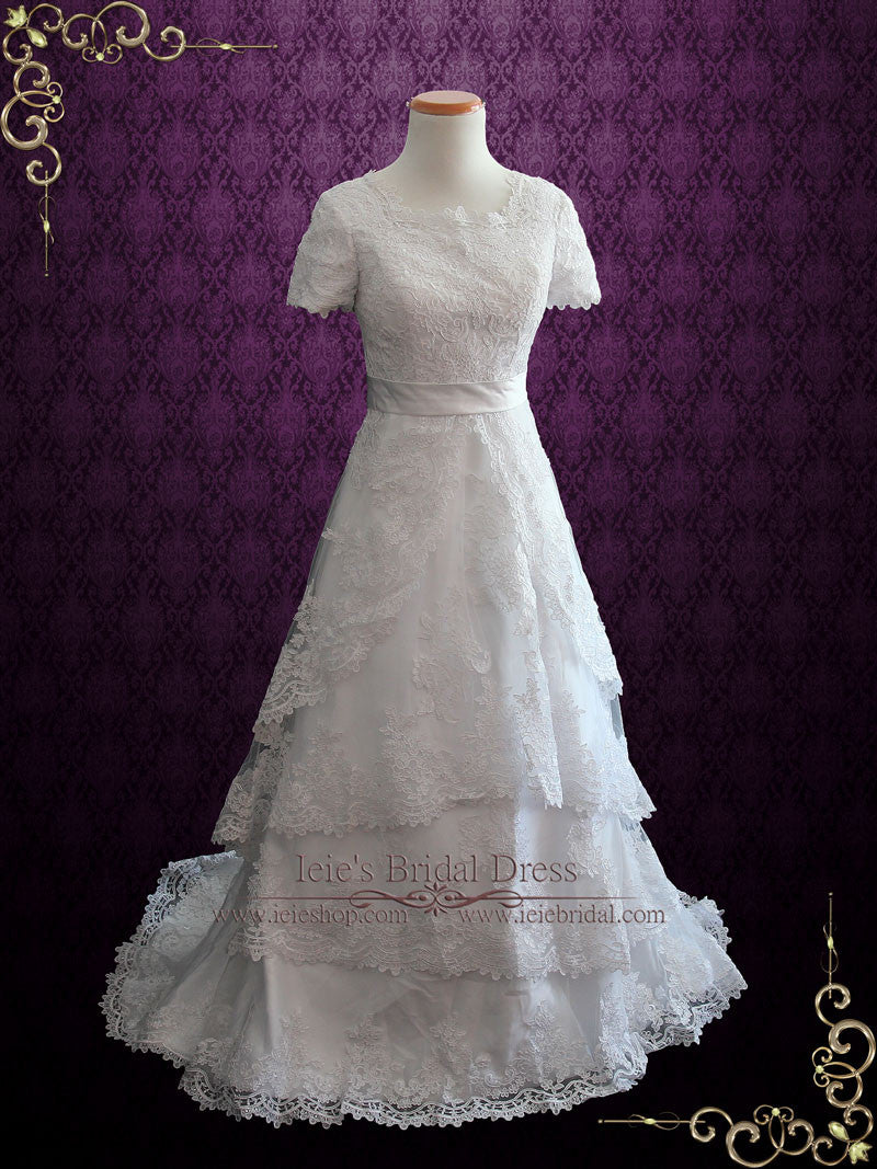 Modest lace wedding dress with short sleeves harper for Short modest wedding dresses