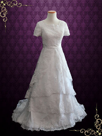 Modest wedding dresses ieie bridal for Short modest wedding dresses
