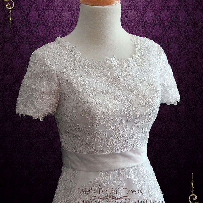 Modest Lace Wedding Dress with Short Sleeves | Harper