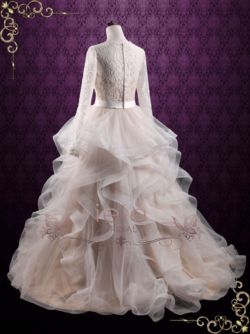 Modest Long Sleeves Wedding Dress with Ruffle Ball Gown Skirt ...