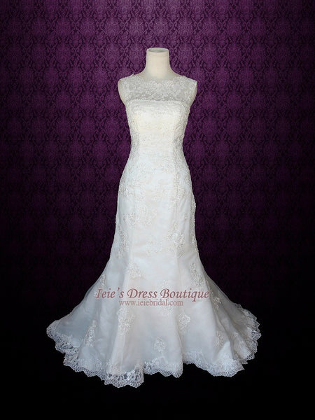 Modest Mermaid Lace Wedding Dress Bateau Neckline | Amy