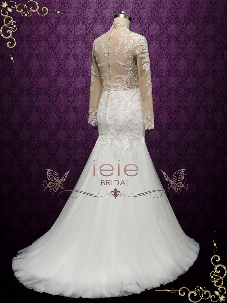 Modest Lace Mermaid Wedding Dress with Nude Lining VANESS