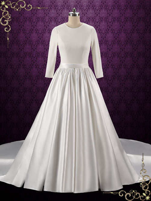 Simple elegant plain satin wedding dress with long sleeves for Simple long sleeve wedding dresses