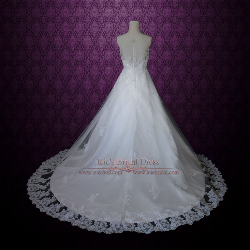 Modest Princess Lace A-line Wedding Dress With Pearl Buttons ...