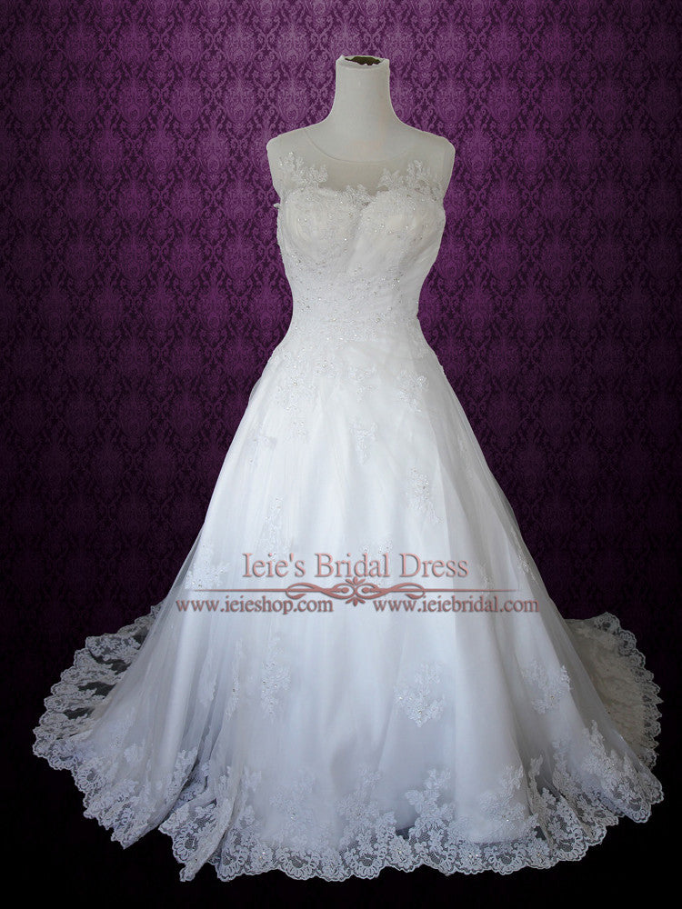 Modest Princess Lace A-line Wedding Dress With Pearl Buttons | Nathalia