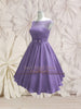 Modest Purple Retro 50s Tea Length Prom Formal Dress