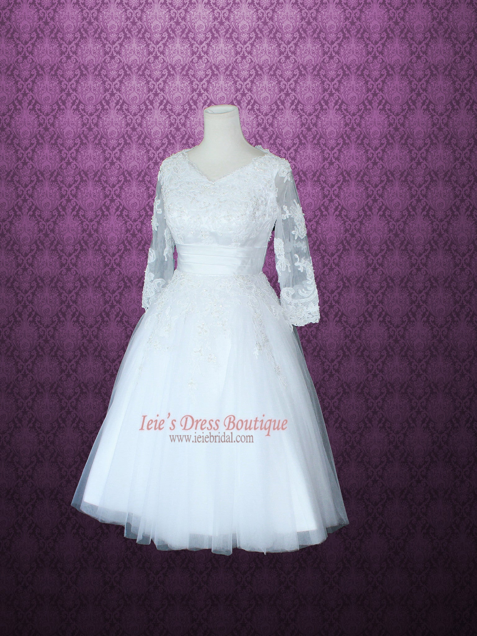 Modest Retro 50s Tea Length Lace Wedding Dress with 3/4 Sleeves ...