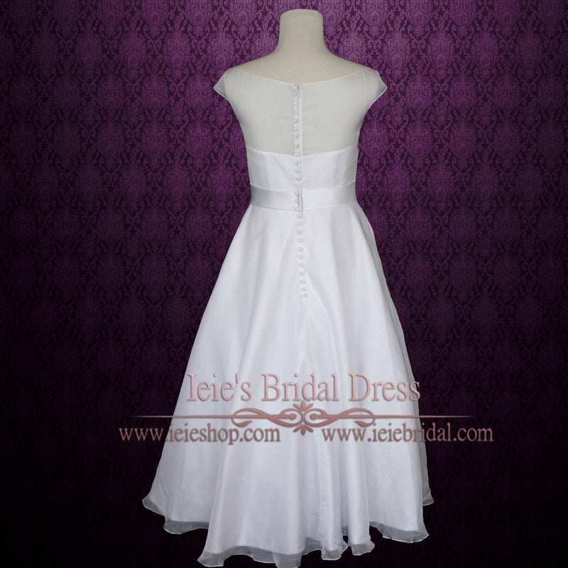 Simple Yet Elegant Modest Retro 50s Tea Length White Wedding Dress with Silver Sash | Hera