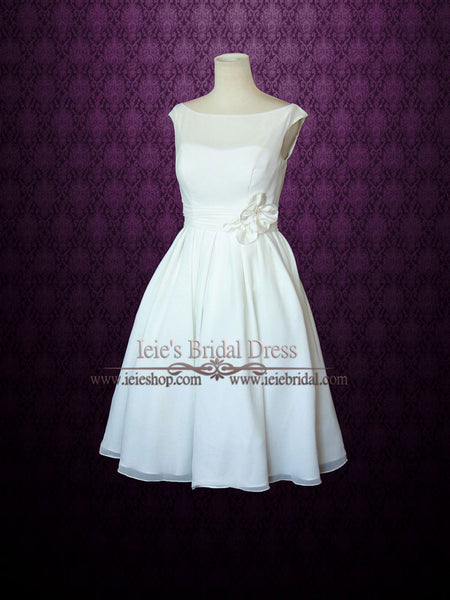 Simple Yet Elegant Modest Retro 50s Knee Length Ivory Wedding Dress | Tracy