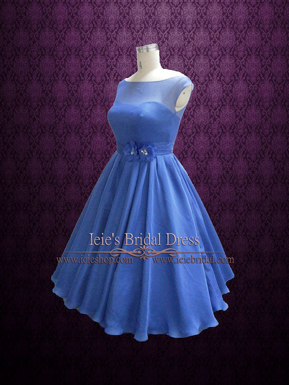 6652e92c9f Retro 50s 60s Royal Blue Tea Length Prom Formal Dress – ieie