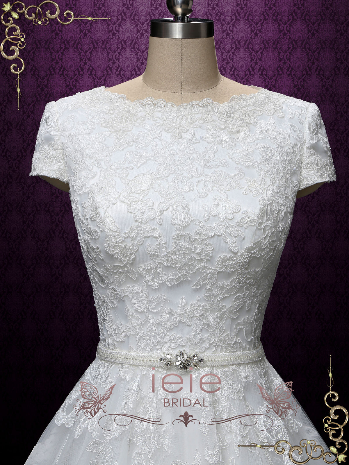 Modest Lace Wedding Dress with Short Sleeves | Abigail
