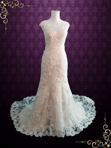 Modest Vintage Lace Wedding Dress with Cap Sleeves | July