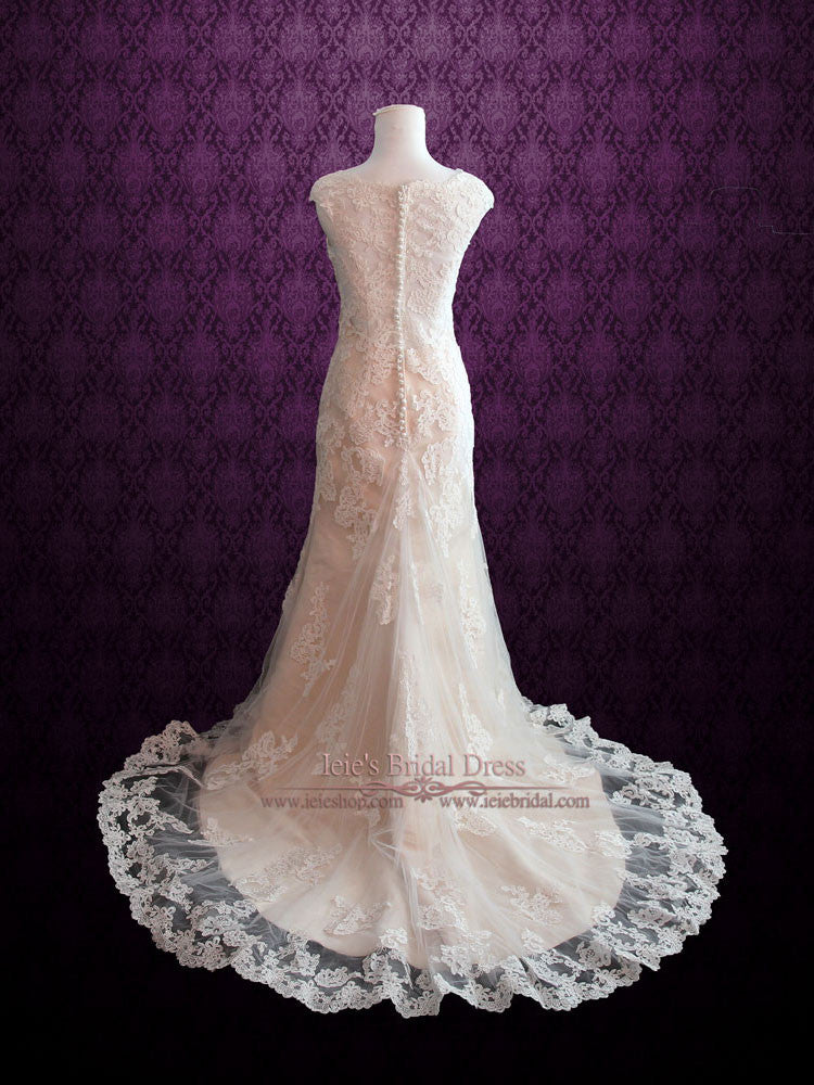Modest Vintage Lace Champagne Wedding Dress with Cap Sleeves Ieie Bridal