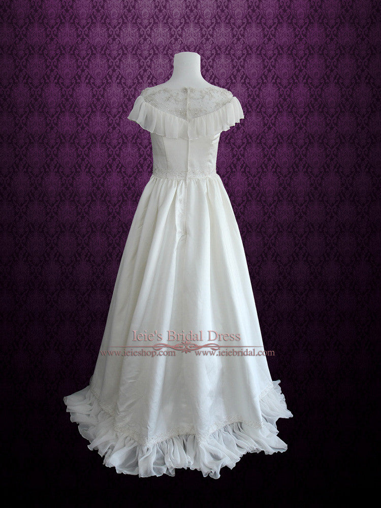 Size 2 Retro Victorian Vintage Style Wedding Dress with Modest Neckline CERA