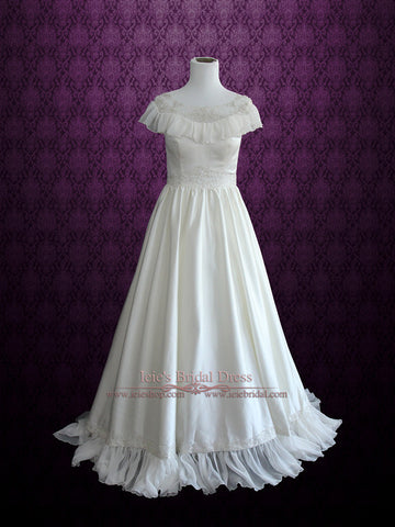 Victorian Vintage Style Wedding Dress with Modest Neckline | Cera