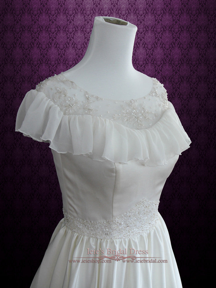 Retro Victorian Vintage Style Wedding Dress with Modest Neckline | Cera | Size 2