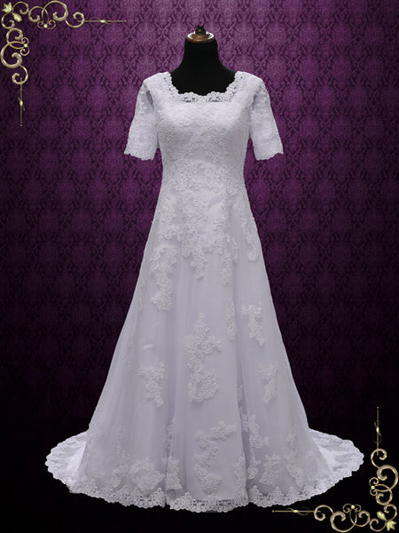 Modest Lace Wedding Dress with Short Sleeves | Briseida
