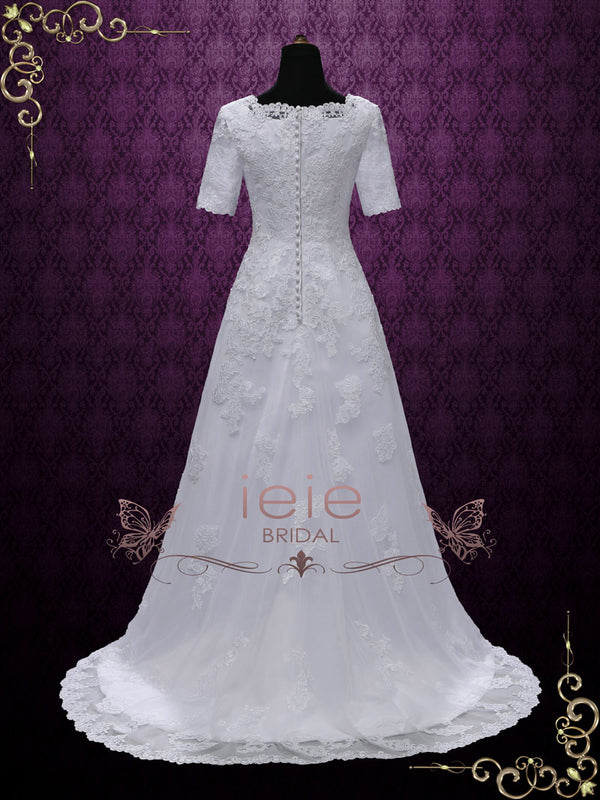 Modest White Lace Wedding Dress with Short Sleeves