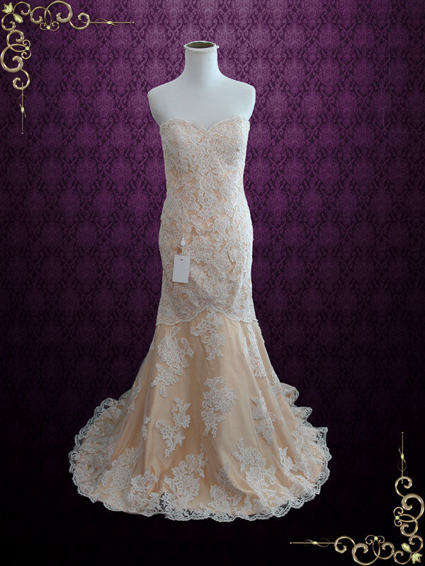 Vintage Inspired Strapless Sweetheart Lace Mermaid Wedding Gown | Size 4 | Mona