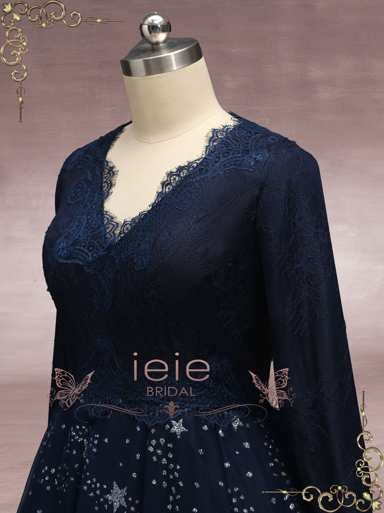 Navy Blue Galaxy Theme Formal Wedding Dress JESSE