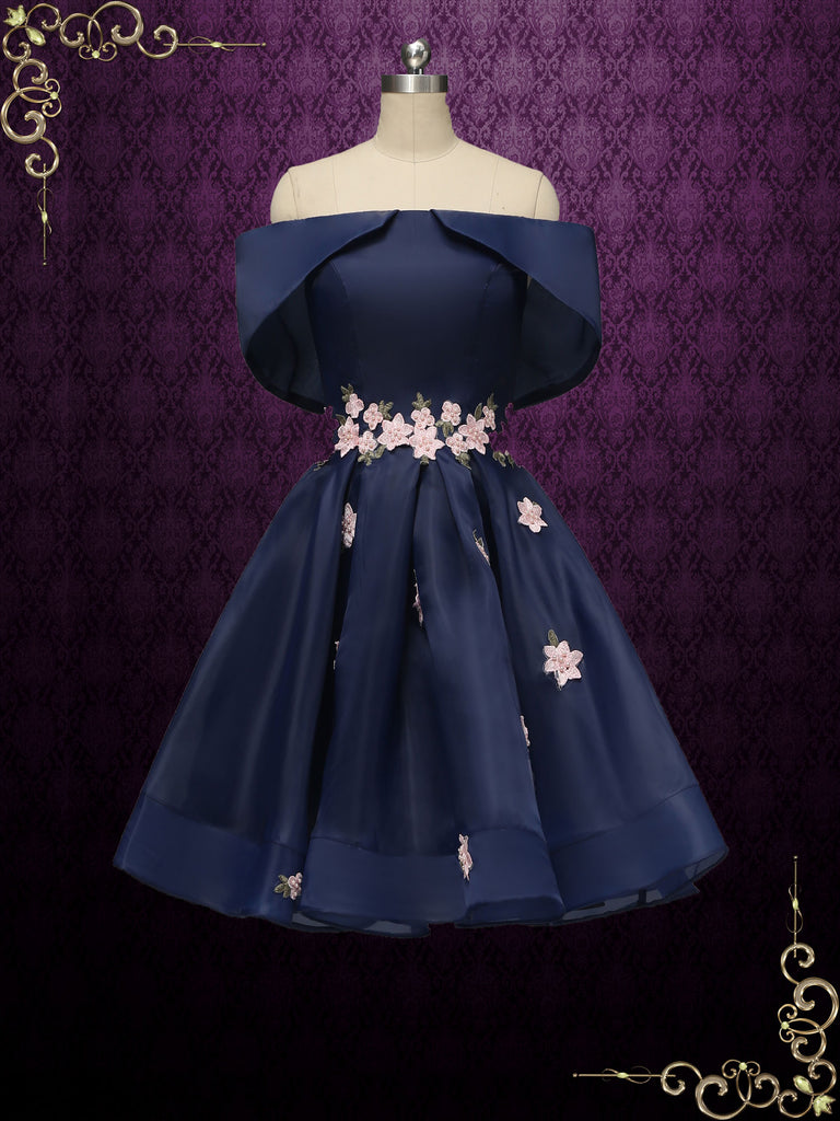 Short Navy Prom Dress with Cherry Blossom