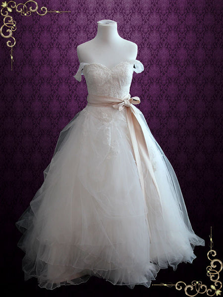 Whimsical Ball Gown Wedding Dress with French Lace | Erin