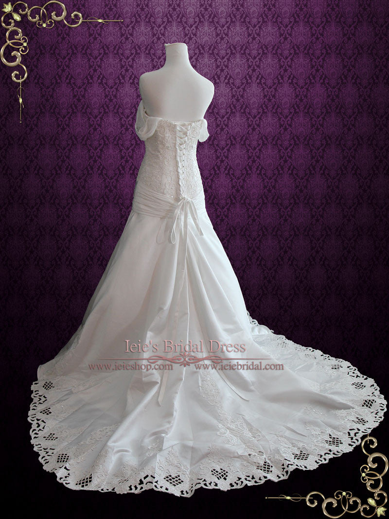Dropped Waist Satin Lace Wedding Dress with Off Shoulder Straps ...