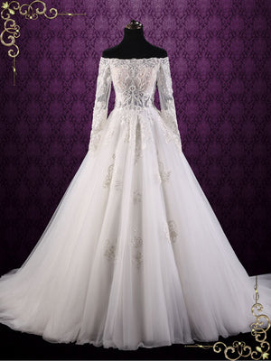 Off Shoulder Lace Ball Gown Wedding Dress | Cullen
