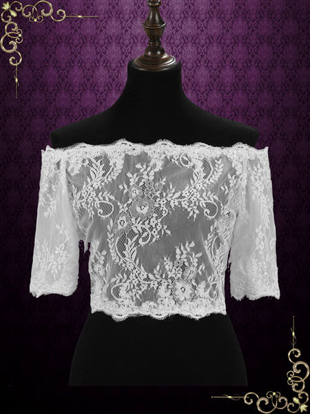 Off Shoulder Lace Shrug with Sleeves | SG1006