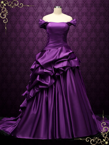 Off the Shoulder Purple Wedding Dress with Black Ruffles | ELA