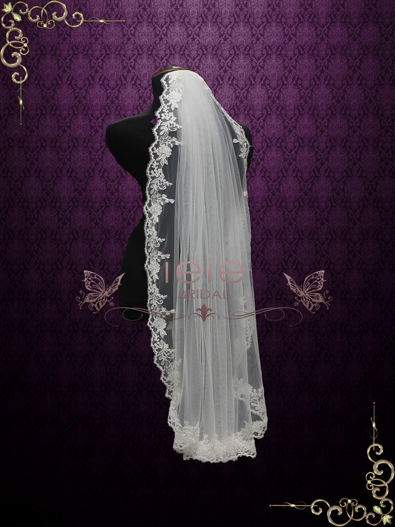 One Layer Fingertip Wedding Veil with Lace Edges | VG2012
