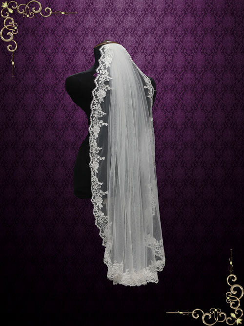 One Layer Fingertip Wedding Veil with Lace Edges VG2012