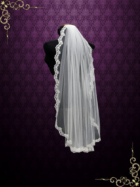 One Layer Fingertip Wedding Veil with Lace Edge | VG2011