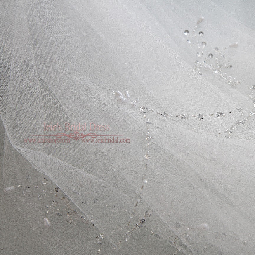 Singer Tier Fingertip Wedding Veil with Jeweled Edge | VG1076