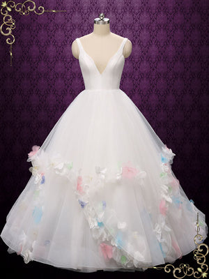 Ball Gown Wedding Dress with Colored Flowers | Myrthala