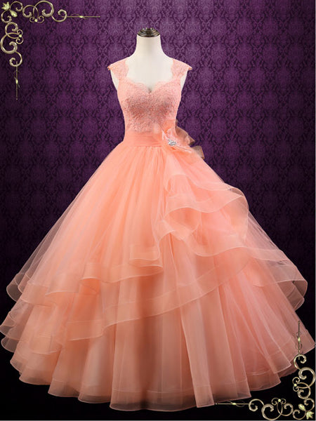 Peach Colored Ball Gown Wedding Dress | Persi | ieie Bridal