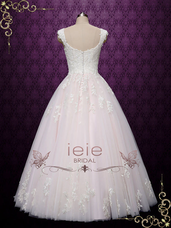 Pearl Pink Ball Gown Lace Wedding Dress | Chloe