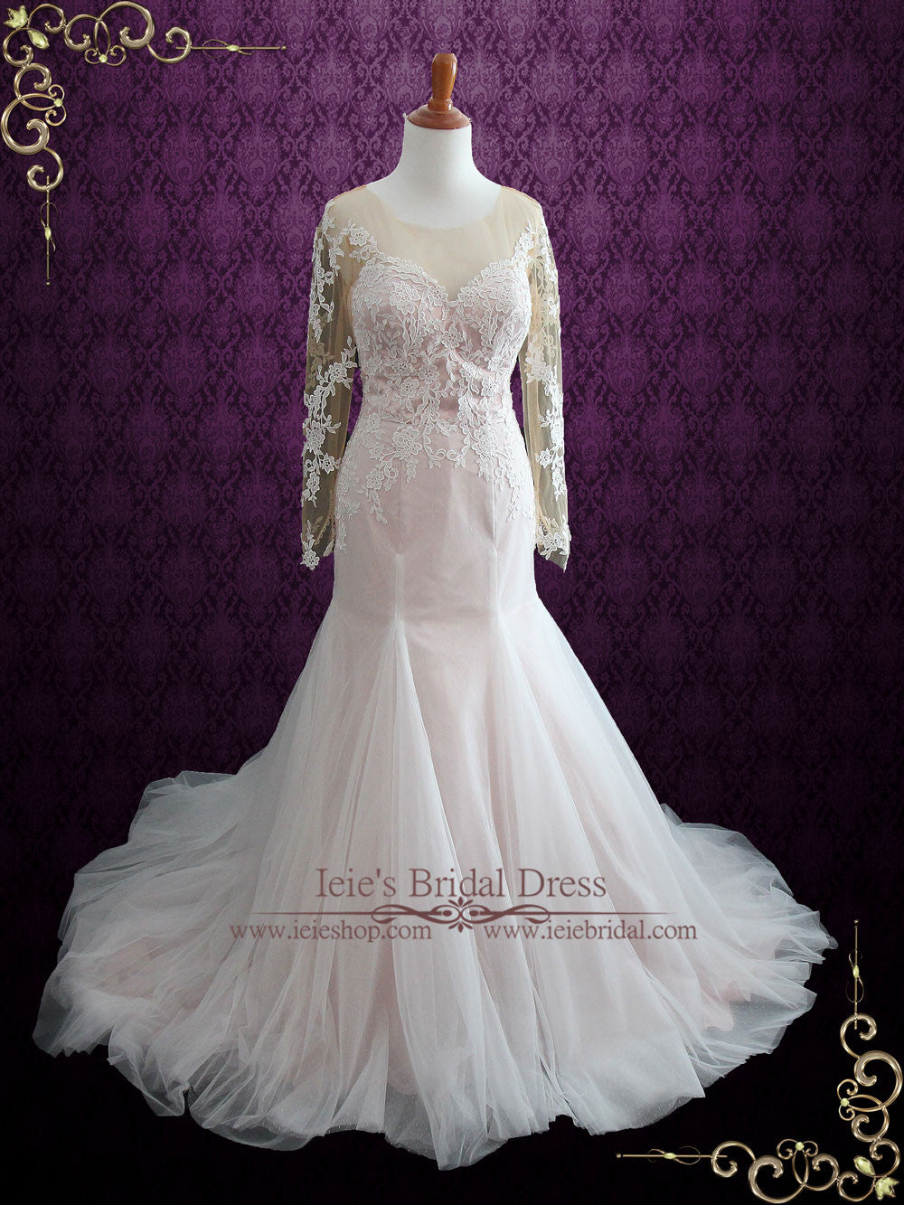 Pink Lace Mermaid Wedding Dress With Illusion Back