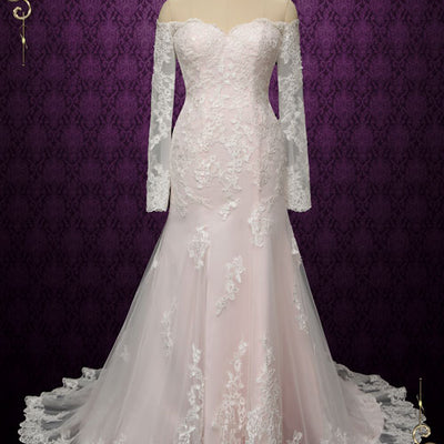 Pearl Pink Vintage Style Lace Wedding Dress with Off Shoulder Long Sleeves | Meg