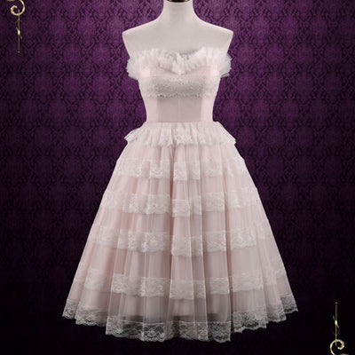 Vintage Style Tea Length Pearl Pink Wedding Dress Formal Dress | Natasha
