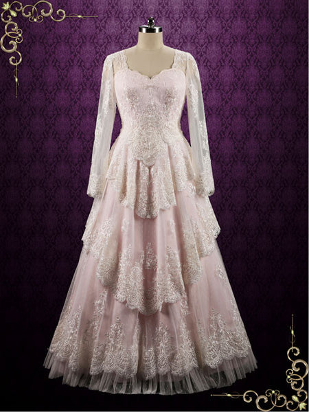 Pearl Pink Vintage Style Lace Wedding Dress With Sleeves