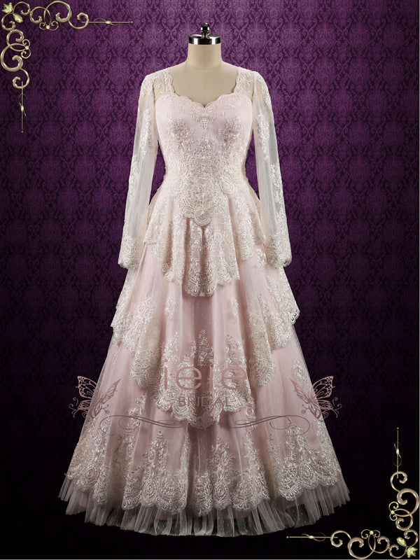 Pearl Pink Vintage Style Lace Wedding Dress with Sleeves | Loreli