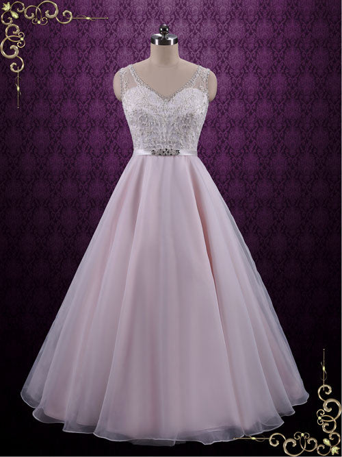 Pearl Pink Wedding Dress with Embroidered Lace Bodice | June