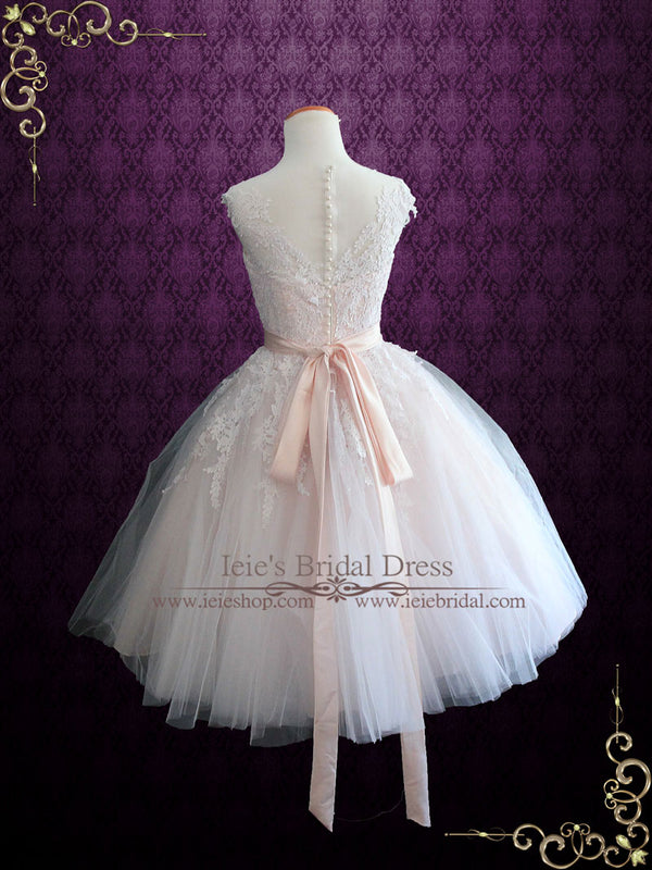 Ready to Ship Size 12 Petal Pink Retro Tea Length Wedding Dress with Illusion Neckline | Rosalie