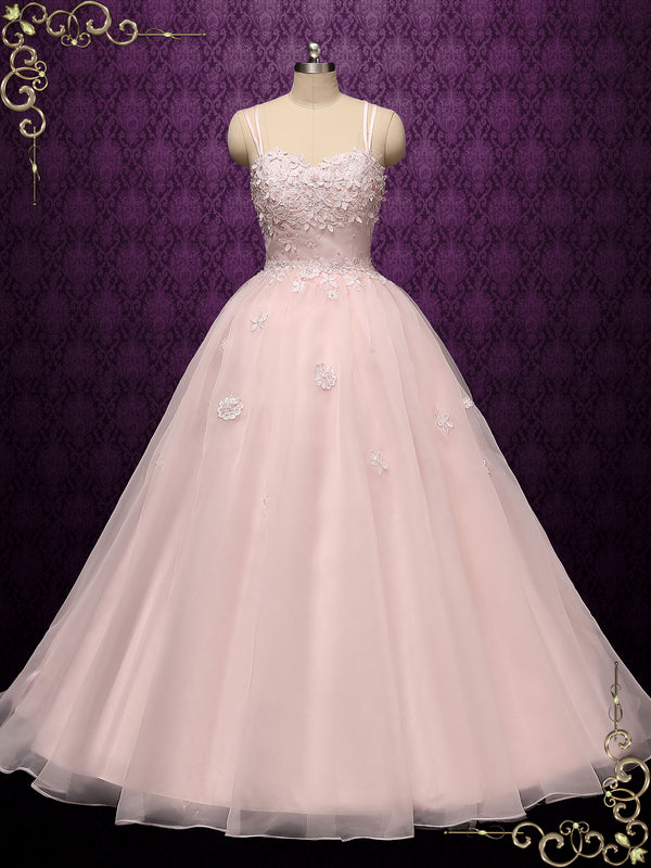 Petal Pink Ball Gown Dress with 3D Flowers | JESSIE